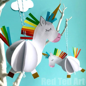 DIY Unicorn ornament - easy paper craft for kids