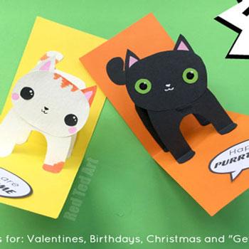 Egyszerű papír cica képeslap - halloween meghívó gyerekeknek
