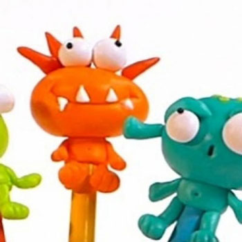 School monsters - alien pencil toppers from polimer clay