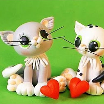 Cute cat couple - polymer clay tutorial