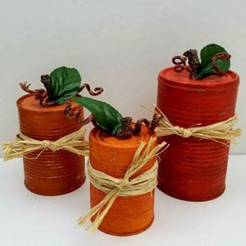 Őszi tökök konzervdobozokból egyszerűen - őszi dekoráció