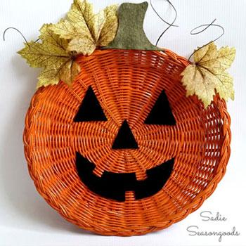 Halloween tök őszi dekoráció fonott kosárból egyszerűen