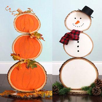 Megfordítható őszi/téli dekoráció farönk szeletből (tök-hóember)