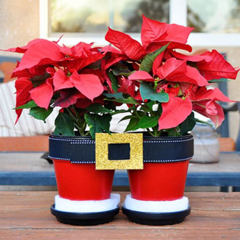 Santa pants flower pots - fun Christmas decor