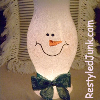 DIY Snowman lamp from an old lamp glass