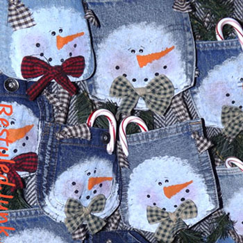 DIY Snowman denim pocket Christmas decor - upcycling craft