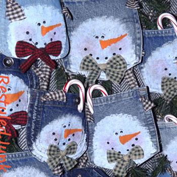 Hóemberes felakasztható karácsonyi dekoráció farmer zsebből