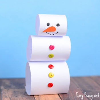Egyszerű papír hóember -  kreatív ötlet gyerekeknek