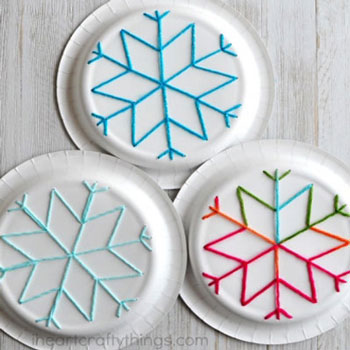 Easy paper plate snowflake yarn art for kids