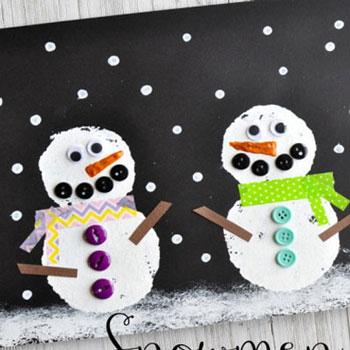 Aranyos hóemberes téli tájkép körszivaccsal festve egyszerűen