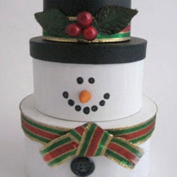 Hóember karácsonyi dekoráció egymásba rakható ajándékdobozokból