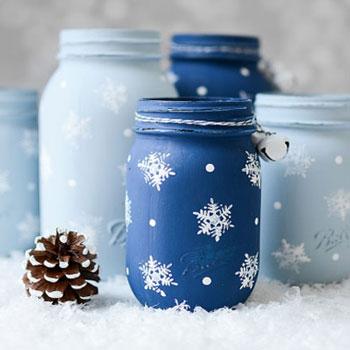 Hópelyhes festett befőttes üvegek - kreatív téli dekoráció