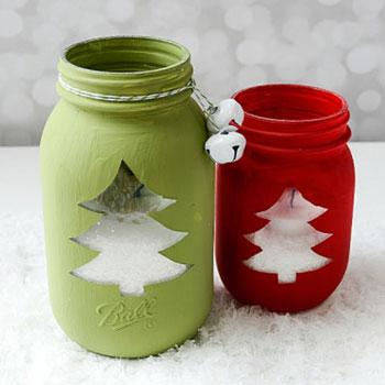 Karácsonyfa mintás karácsonyi mécsestartó befőttesüvegből