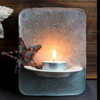 Karácsonyi mécsestartó betonból porcelán csészealjjal