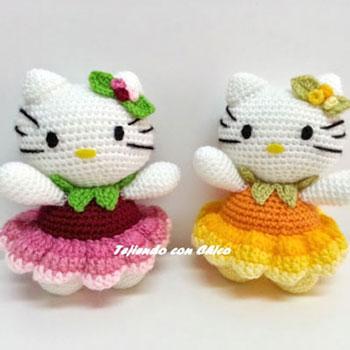 Horgolt (amigurumi) Hello Kitty virágszoknyában - ingyenes horgolásminta