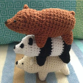 Amigurumi polar bear,panda and grizzly (free crochet pattern)