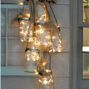 Vintage karácsonyi kültéri fénydekoráció befőttesüvegekből