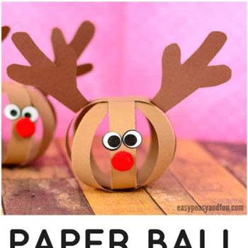 Papírcsík gömb rénszarvas Rudolf - karácsonyfadísz gyerekeknek