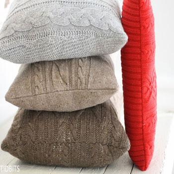 Párnahuzatok megunt régi kötött pulóverekből