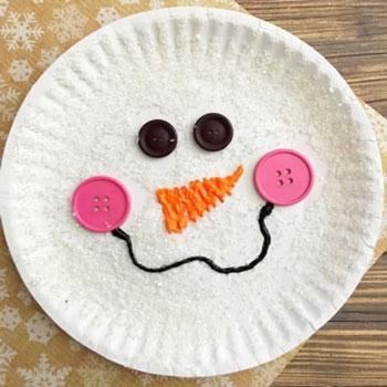 Egyszerű papírtányér hóember arc  - kézműves ötlet gyerekeknek