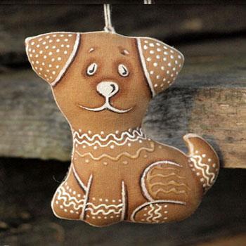 Kávéval festett textil mézeskalács kutya karácsonyfadísz