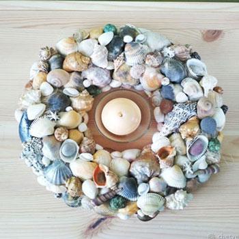 Különleges kagyló koszorú - nyári dekoráció