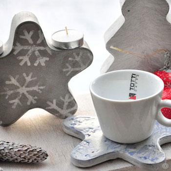Különleges karácsonyi dekoráció cementből (mécsestartó)