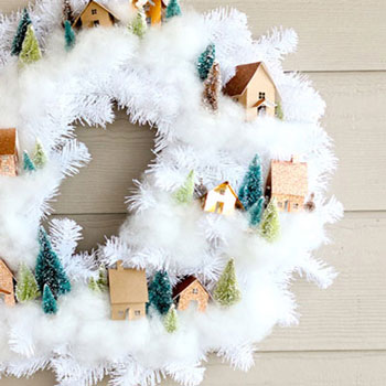 DIY Winter village wreath (free printable)