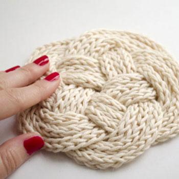 Kötött kötél kelta csomó poháralátét (maradék fonalból)