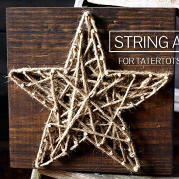 Csillag fonalkép - kreatív karácsonyi dekoráció fonalból