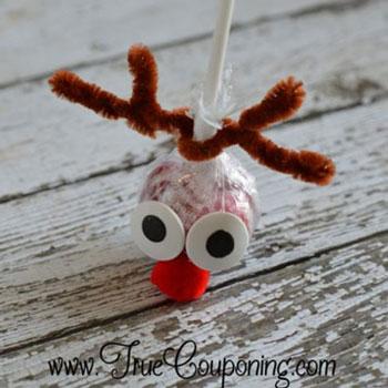 Egyszerű rénszarvas Rudolf nyalóka - mikulás ajándék