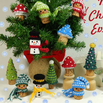 Crochet wine cork ornament - snowman,mushroom, elf & Christmas tree