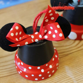 Easy DIY miniature clay pot Minnie and Mickey mouse  ornament