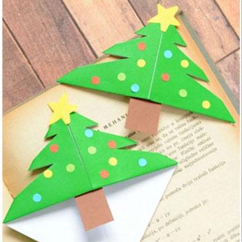 Egyszerű karácsonyfa sarok könyvjelző - kreatív ötlet gyerekeknek