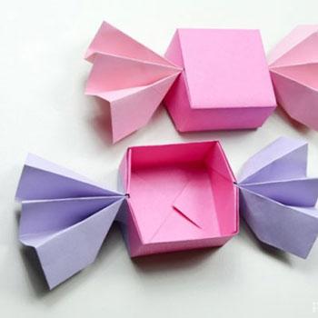 Szaloncukor alakú papír ajándékdobozok egyszerűen - origami