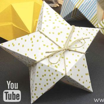 Egyszerű karácsonyi csillag ajándékdoboz papírból (nyomtatható sablonnal)