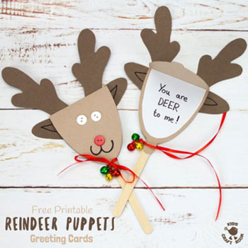 Rudolph reindeer paper puppet (free printable template)