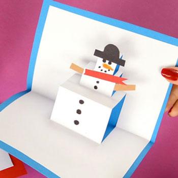 Felugró hóemberes képeslap - kreatív ötlet gyerekeknek