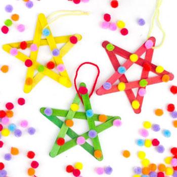 Jégkrém pálcika csillag - egyszerű karácsonyfadísz gyerekeknek