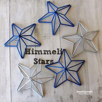 Egyszerű térbeli csillagok szívószálból - buli dekoráció