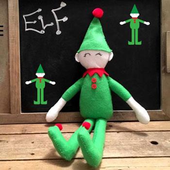 Egyszerű filc karácsonyi manó figura (ingyenes szabásminta)