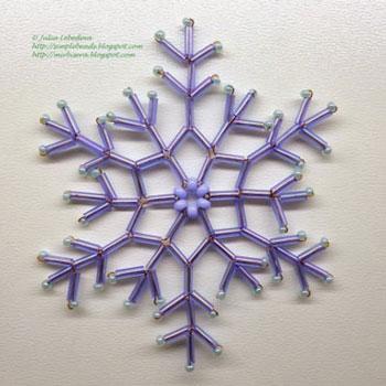 Egyszerű hópehely gyöngyből - gyöngyfűzés minta