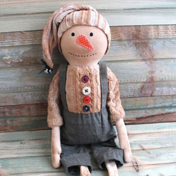 Primitive snowman doll - sewing tutorial
