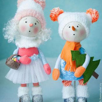 Hóember és hólány baba (ingyenes szabásminta)