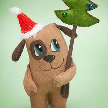 Karácsonyi kutyus - kutya plüss (ingyenes szabásminta)