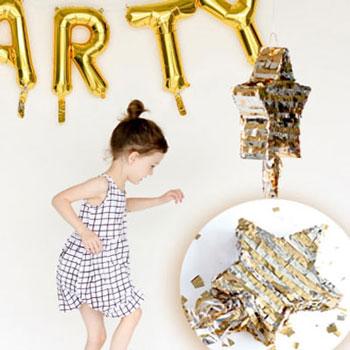 Csillag alakú party pinata - cukorkákkal töltött buli dekoráció