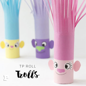 DIY Toilet paper Trolls - fun paper craft for kids