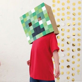 DIY Cardboard box Minecraft (Creeper) mask - easy costume