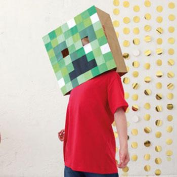 Minecraft (Creeper) maszk egyszerűen papírból - jelmez gyerekeknek