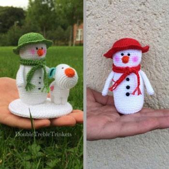 Horgolt hóember sapkával - ingyenes amigurumi minta